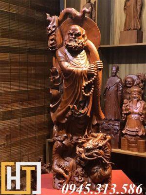 tượng gỗ đạt ma đứng rồng cao 1m20