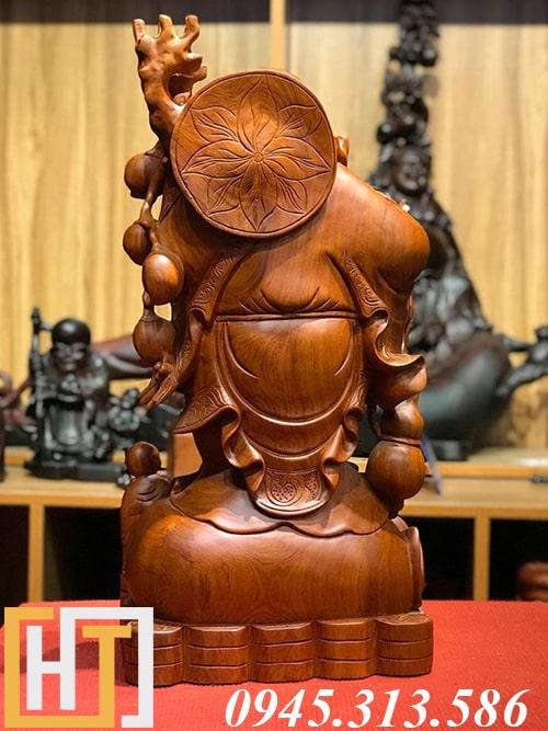 ảnh phía sau tượng phật di lặc gỗ hương gánh đào 01