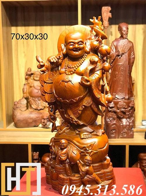 tượng phật di lặc nhị phúc gỗ hương cao 70