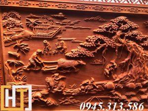 Tranh gỗ đồng quê đục tay dài 2m37 3