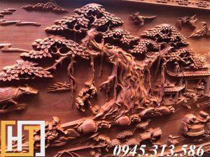 Tranh gỗ đồng quê đục tay dài 2m37 4