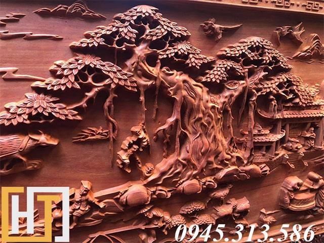 cây đa tranh gỗ đồng quê đục tay dài 2m37
