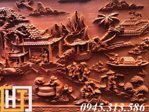 tranh gỗ đồng quê đục tay dài 2m37 phía bên phải