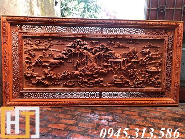 tranh gỗ đồng quê đục tay dài 2m37