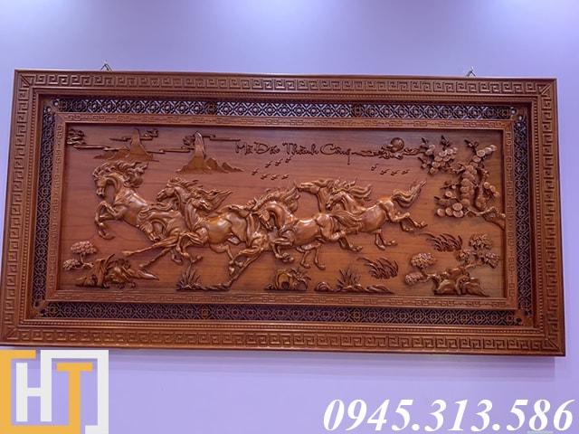 tranh gỗ mã đáo thành công khổ lớn gỗ hương