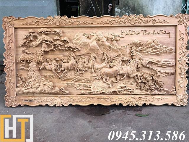 tranh gỗ mã đáo thành công khổ lớn gỗ gõ