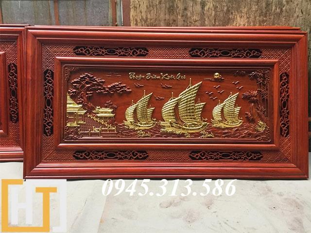 tranh gỗ thuận buồm xuôi gió thếp vàng