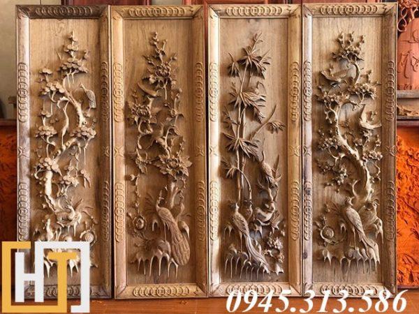 bộ tranh tứ quý gỗ gụ