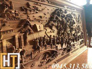 mặt nghiêng tranh gỗ vinh quy bái tổ dài 2m57