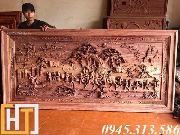 tranh gỗ vinh quy bái tổ dài 2m57