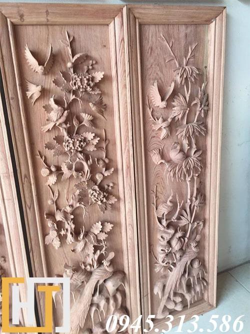 bức trúc và cúc trong bộ tranh tứ quý gỗ hương ta