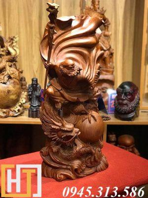 ảnh bên phải tượng gỗ đạt ma hàng long cao 60