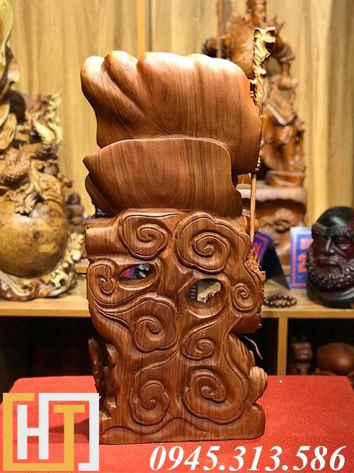 ảnh phía sau tượng gỗ đạt ma hàng long cao 60