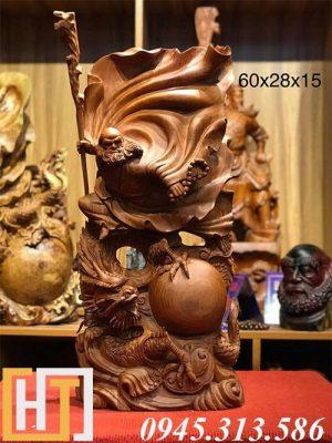 tượng gỗ đạt ma hàng long cao 60