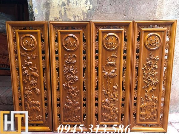 tranh tứ quý gỗ gõ đỏ