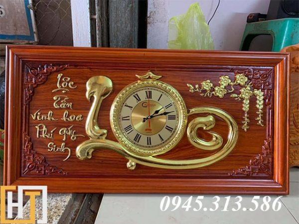 tranh đồng hồ chữ lộc dài 81cm cao 41cm dày 3cm