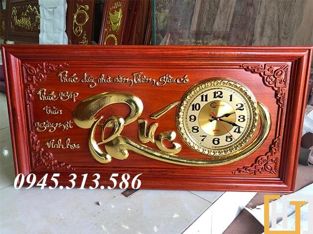 tranh đồng hồ chữ phúc dài 81cm cao 41cm dày 3cm