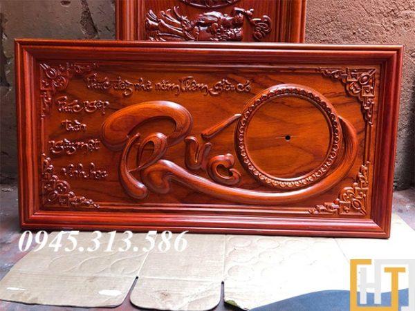 tranh đồng hồ chữ phúc sơn pu dài 81cm cao 41cm dày 3cm