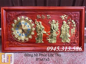 tranh đồng hồ phúc lộc thọ dài 81x41x3