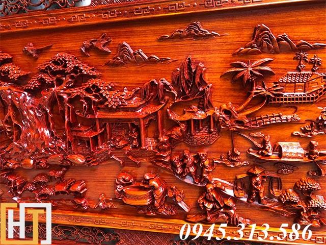 tranh đồng quê gỗ hương phóng to
