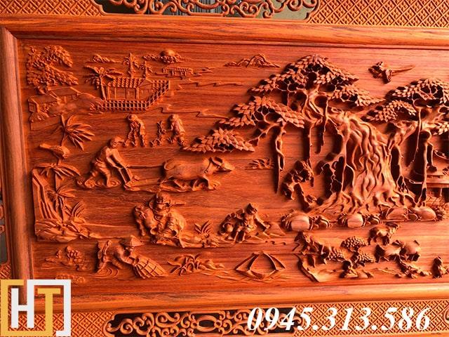 tranh gỗ đồng quê dài 1m97-1