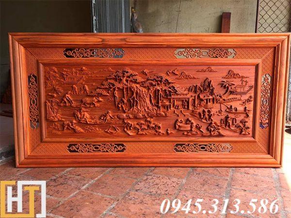 tranh gỗ đồng quê dài 1m97 gỗ hương