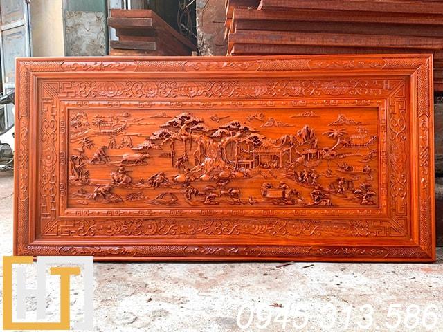 tranh gỗ làng quê việt nam giá rẻ khung đục hạ nền dài 1m97
