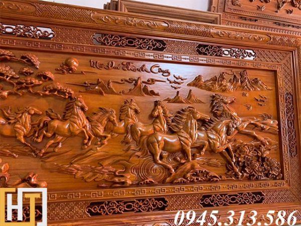 tranh gỗ mã đáo thành công dài 2m37 rộng 1m17 gỗ dày 6,5