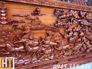 tranh gỗ mã đào thành công phóng to