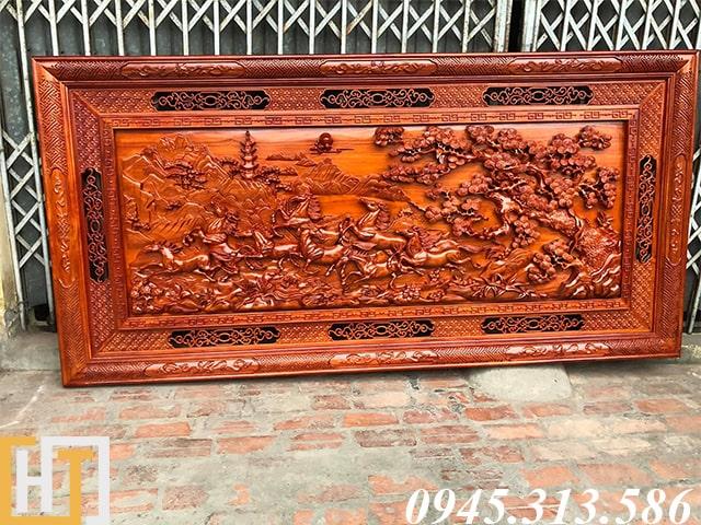 tranh gỗ bát mã đẹp dài 2m37 rộng 1m17 gỗ dày 7cm