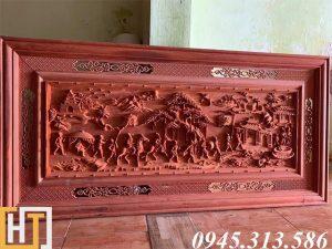 tranh gỗ vinh quy bái tổ dài 1m97 rộng 97cm dày5cm
