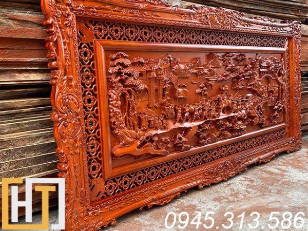 Tranh gỗ hương vinh quy bái tổ dài 1m97 x 97cm x5cm 1