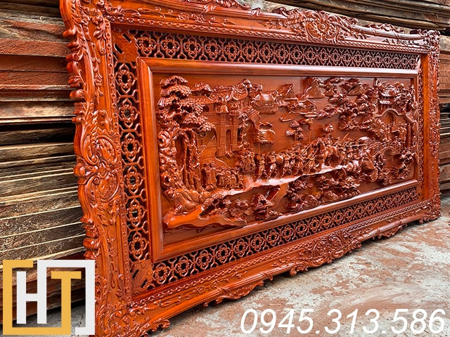 Tranh gỗ hương vinh quy bái tổ dài 1m97 x 97cm x5cm 6