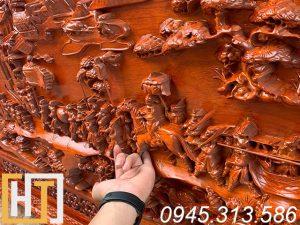 Tranh gỗ hương vinh quy bái tổ dài 1m97 x 97cm x5cm 4