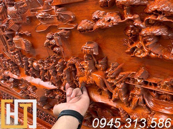 Tranh gỗ hương vinh quy bái tổ dài 1m97 x 97cm x5cm 2