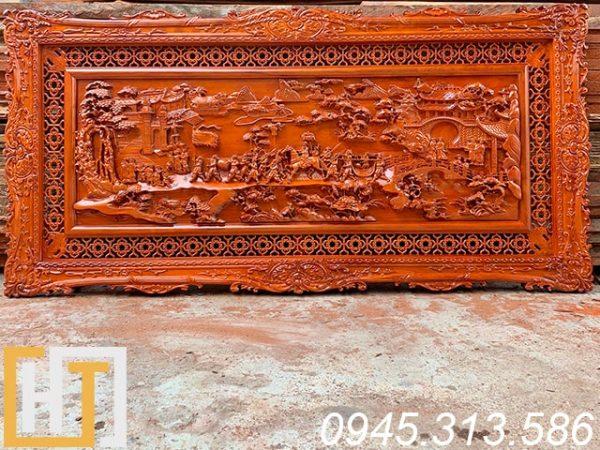 tranh gỗ vinh quy bái tổ hàng đục kỹ dài 197x97x5