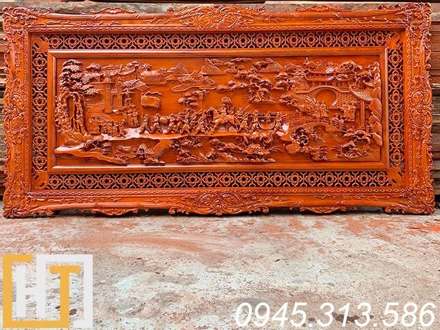 tranh gỗ hương vinh quy bái tổ hàng đục kỹ dài 197x97x5