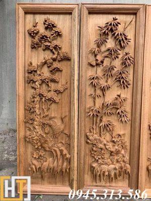 bức tùng trúc trong bộ tranh tứ quý gỗ gụ
