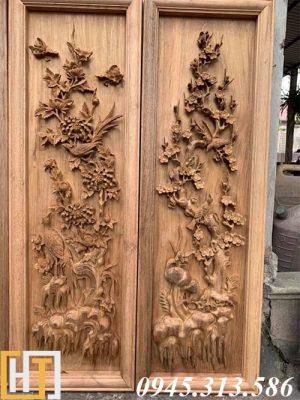 bức cúc, mai trong bộ tranh tứ quý gỗ gụ