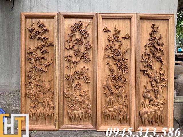 tranh tứ quý gỗ gụ ta rộng 37cm cao 1m17 gỗ dày 5cm