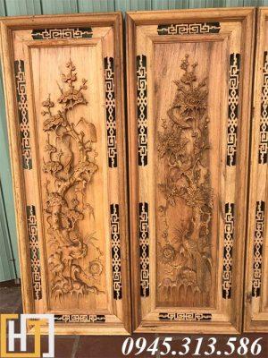 bức tùng cúc trong bột tranh tứ quý gỗ gụ 42x117x4.5