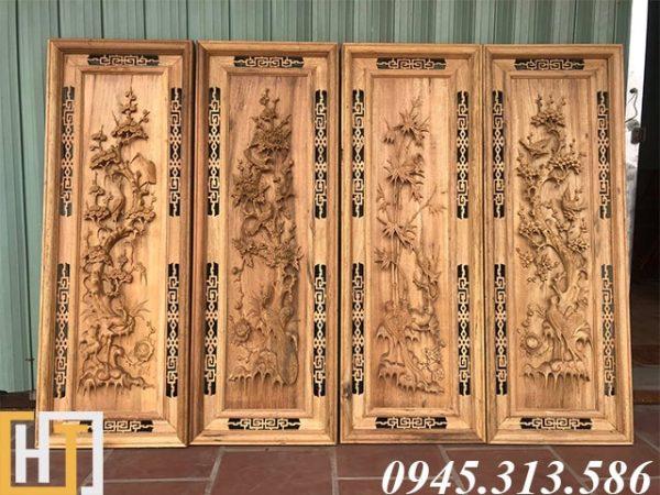 tranh tứ quý gỗ gụ ta 42 x117x4.5