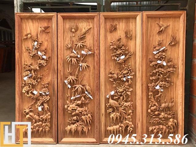 tranh tứ quý gỗ hương đá để mộc