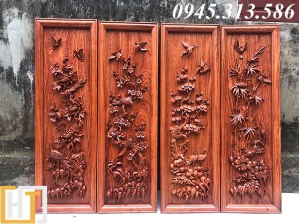 tranh tứ quý gỗ hương đá