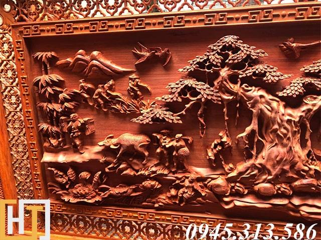 Họa tiết phần đầu tranh gỗ đồng quê việt nam đục tay