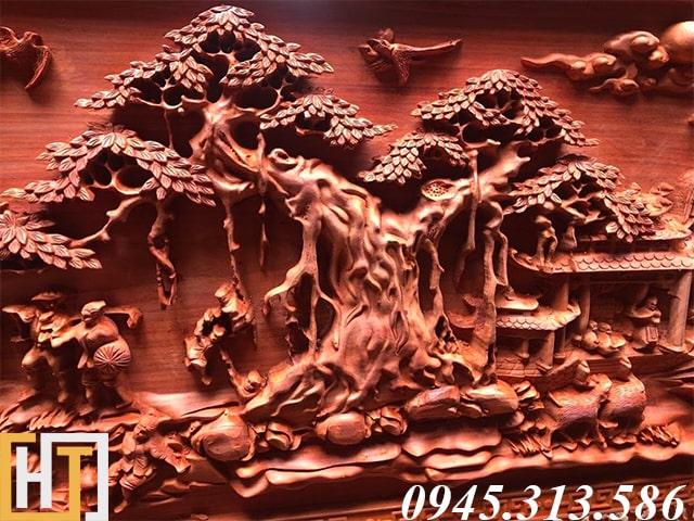 cây đa trong họa tiết bức tranh gỗ đồng quê việt nam đục tay dài 2m17 rộng 1m07 gỗ nguyên tấm dày 6cm