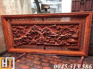 tranh gỗ đồng quê việt nam đục tay dài 2m17 rộng 1m07 gỗ nguyên tấm dày 6cm
