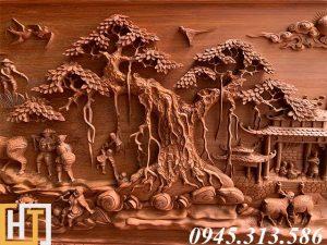 cây đa trong bức tranh đồng quê được chạm khắc tỉ mỉ