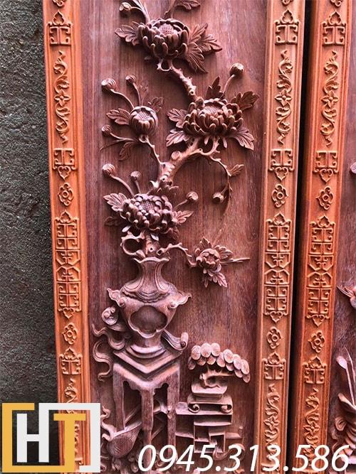 cây hoa cúc trong bộ tranh tứ bình gỗ hương đỏ nam phi