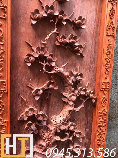 cây hoa mai trong bộ tranh tứ bình gỗ hương đỏ nam phi